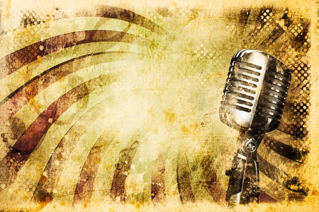 Grunge music background with old microphone