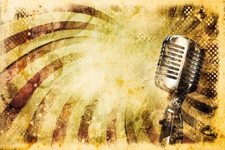 microfono antiguo: Fondo de música grunge con micrófono antiguo