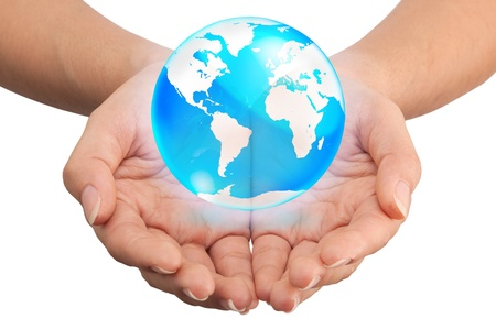 reflection internet: Hand holding crystal globe, Save world concept