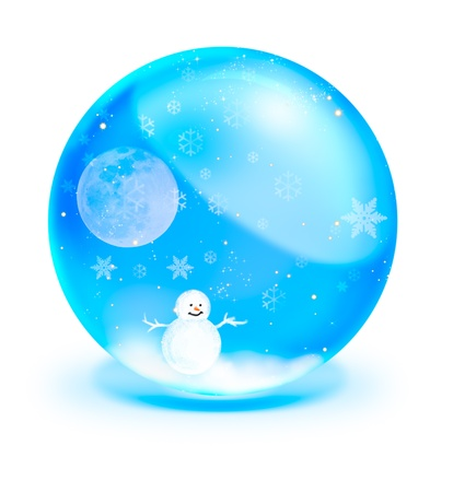 Santa Claus On Sledge With Deer and full moon in blue crystal ball photo