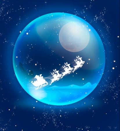 Santa Claus On Sledge With Deer and full moon in blue crystal ball