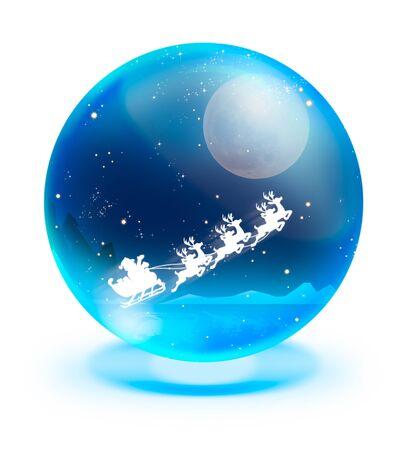 Kerstman op slee met herten en volle maan in het blauw kristallen bol