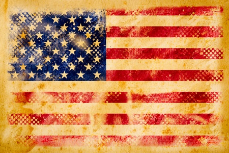 American flag grunge  on old vintage paper Stock Photo - 10887927
