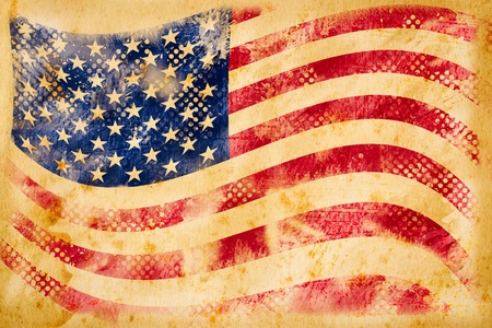 American flag grunge  on old vintage paper photo