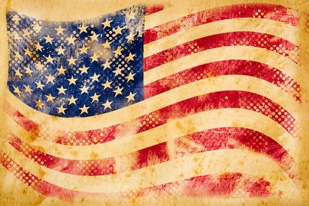 American flag grunge  on old vintage paper