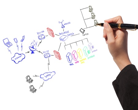 business woman drawing  a security plan for a firewall system Banque d'images
