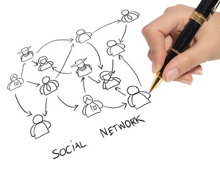 business man drawing a social network photo