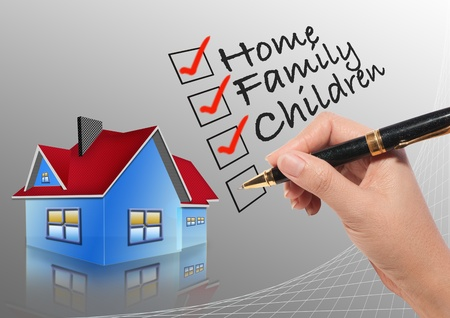 home insurance: Woman hand checking list with home background