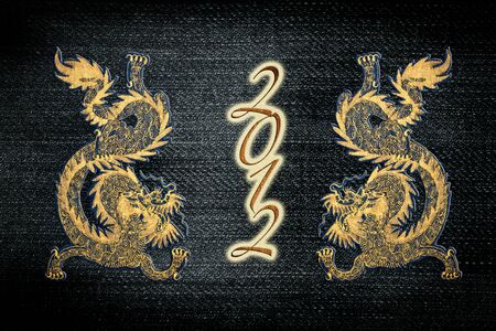 Golden paint chinese dragon on jean for 2012 year of the dragon   photo