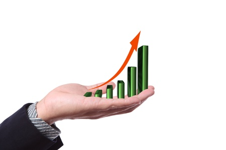 Hand with growing graph Stock Photo - 11098563