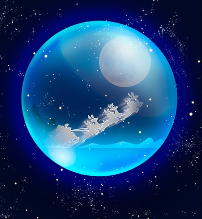 santa claus sleigh in blue crystal ball Stock Photo - 11098559