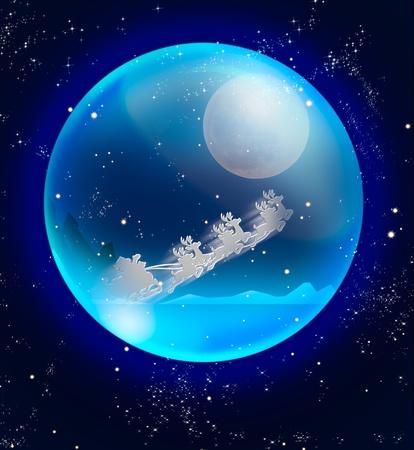 santa claus sleigh in blue crystal ball Stock Photo - 11098559