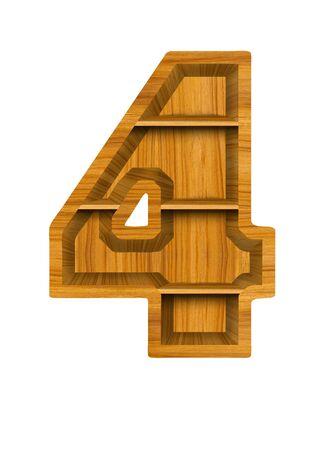 number four:  Number 4 made from wood, isolated on white background. Stock Photo