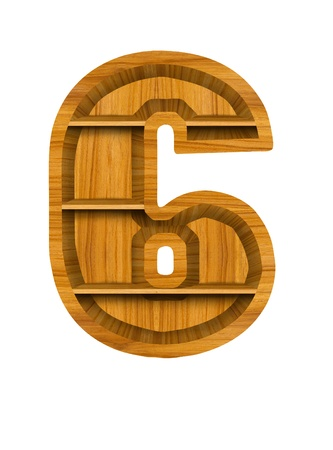 Number 6 made from wood, isolated on white background. photo