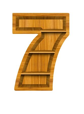 Number 7 made from wood, isolated on white background. Stock Photo - 11098574