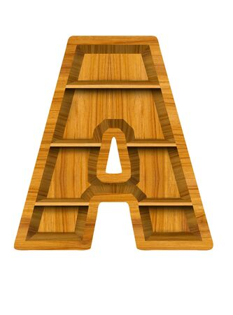 Wooden alphabet letter with shelf on white background,A photo