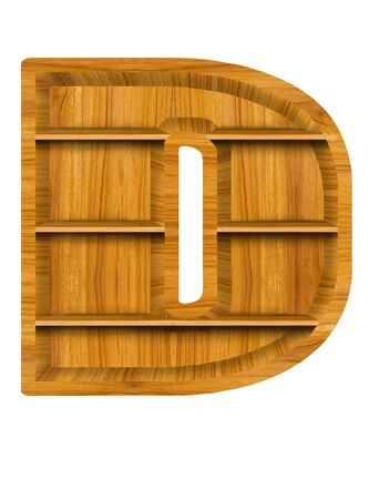 Wooden alphabet letter with shelf on white background,D photo