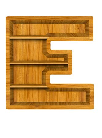 Wooden alphabet letter with shelf on white background,E photo