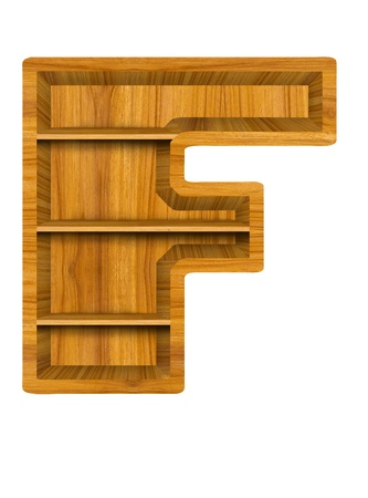 Wooden alphabet letter with shelf on white background,F photo