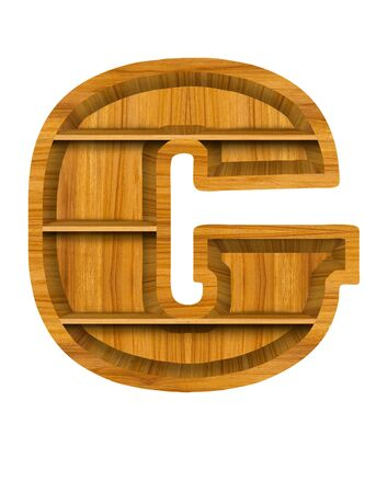 Wooden alphabet letter with shelf on white background,G photo