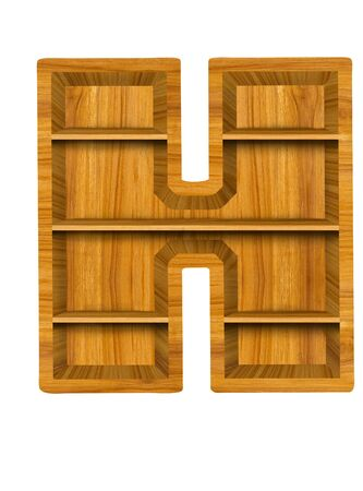 Wooden alphabet letter with shelf on white background,H photo