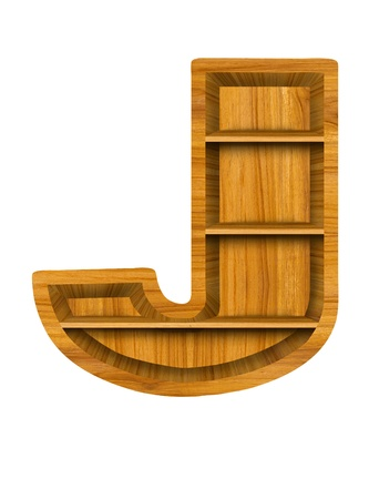 Wooden alphabet letter with shelf on white background,J photo