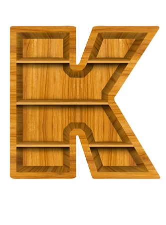 Wooden alphabet letter with shelf on white background,K photo