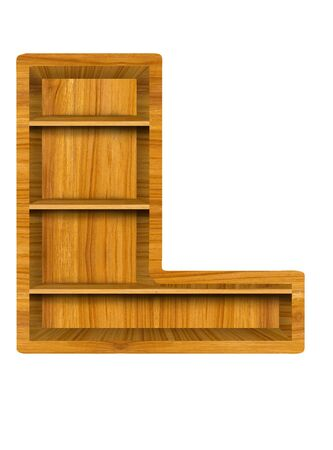 Wooden alphabet letter with shelf on white background,L photo