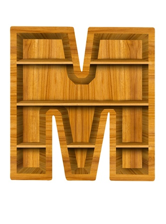 Wooden alphabet letter with shelf on white background,M photo