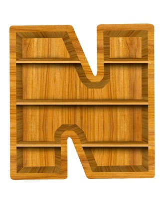 Wooden alphabet letter with shelf on white background,N photo