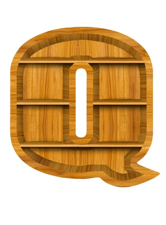 Wooden alphabet letter with shelf on white background,Q photo