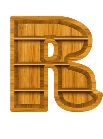 Wooden alphabet letter with shelf on white background,R photo