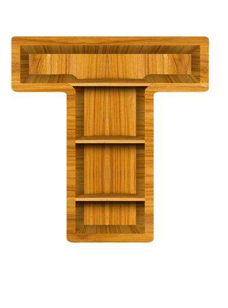 white shelf: Wooden alphabet letter with shelf on white background,T Stock Photo