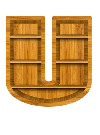 Wooden alphabet letter with shelf on white background,U photo
