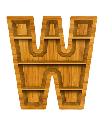 Wooden alphabet letter with shelf on white background,W photo