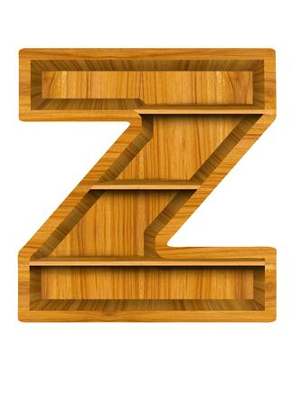 letter z: Wooden alphabet letter with shelf on white background,Z