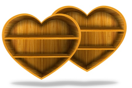 Wooden heart  shelf  Stock Photo - 11098606