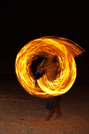 Amazing Fire Show at night on samet Island, Thailand