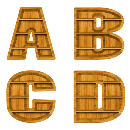 Wooden alphabet letter with shelf on white background photo