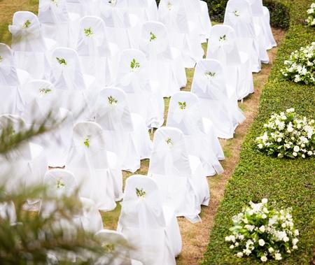 Tropical settings for a wedding on mountain Фото со стока
