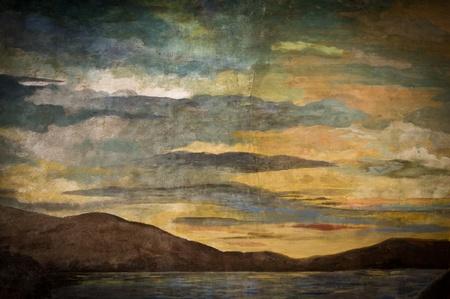 vintage sky painting photo