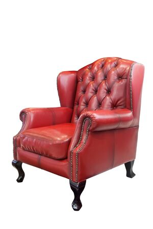 leather armchair: Isolated luxury Red leather armchair
