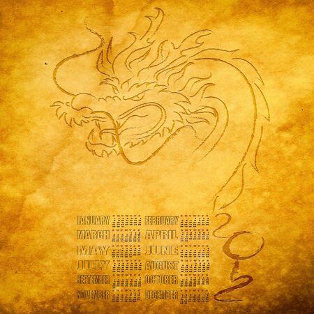 Calendar 2012, year of dragon  photo