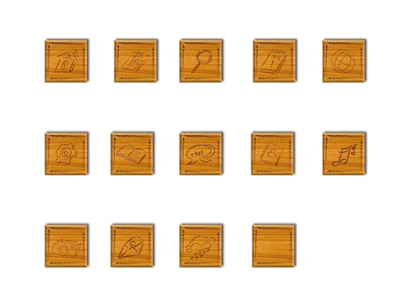 forcast: wooden applicaiton  icons for web and applicaiton on modern touch pad pc