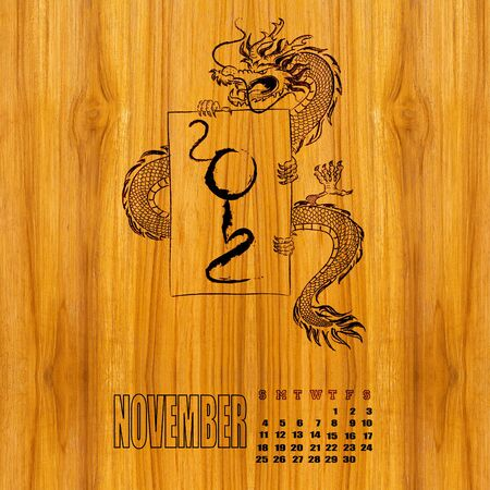 Calendar 2012, year of dragon , January photo