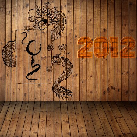 Year2012, old grung paper with dragon on wood Texture use for background photo
