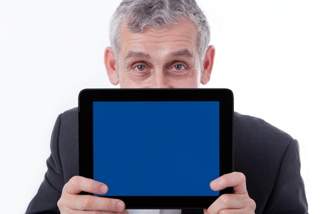touch pad: Business man showing modern tablet, touch pad, new technology