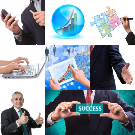 marketing mix: Business collage set of nine pictures Stock Photo