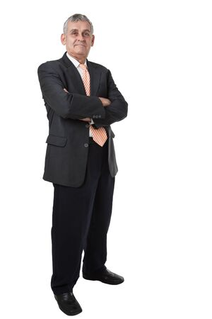 Relaxed senior business man. Isolated on white background photo