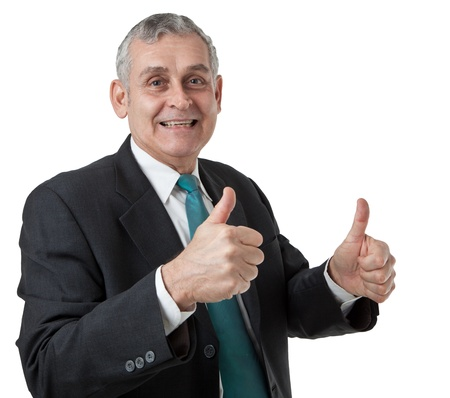 Portrait of confident mature businessman giving you thumbs up on white background photo
